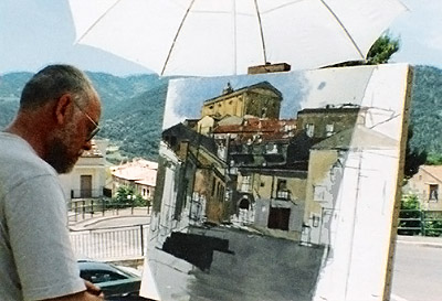 Frederick Ortner painting in Accettura, province of Matera, Southern region of Basilicata, Italy